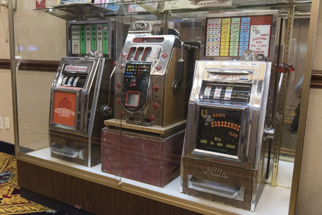Vintage slot machines are seen in a display case at Railroad Pass hotel-casino in Henderson Friday, July 29, 2016. The hotel-casino celebrates its 85th anniversary this Monday. Jason Ogulnik/Las V ...