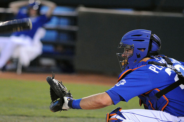 Las Vegas 51s catcher Kevin Plawecki waits for the pitch at a home game against the El Paso Chihuahuas. (Jerry Henkel/Las Vegas Review-Journal)