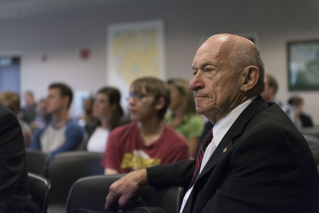 Education consultant Michael Strembitsky is seen during a legislative committee meeting to discuss reorganization plans for the Clark County School District at the Sawyer Building in Las Vegas Fri ...