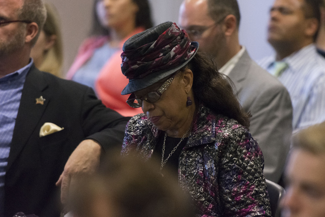 Clark County School Board President Linda Young is seen during a legislative committee meeting to discuss reorganization plans for the Clark County School District at the Sawyer Building in Las Ve ...