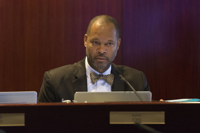 State Sen. Aaron Ford speaks during a legislative committee meeting to discuss reorganization plans for the Clark County School District at the Sawyer Building in Las Vegas Friday, July 1, 2016. ( ...