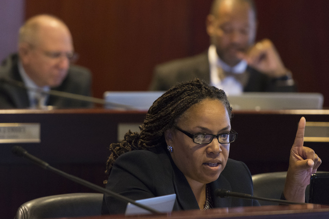 Assemblywoman Dina Neal speaks during a legislative committee meeting to discuss reorganization plans for the Clark County School District at the Sawyer Building in Las Vegas Friday, July 1, 2016. ...
