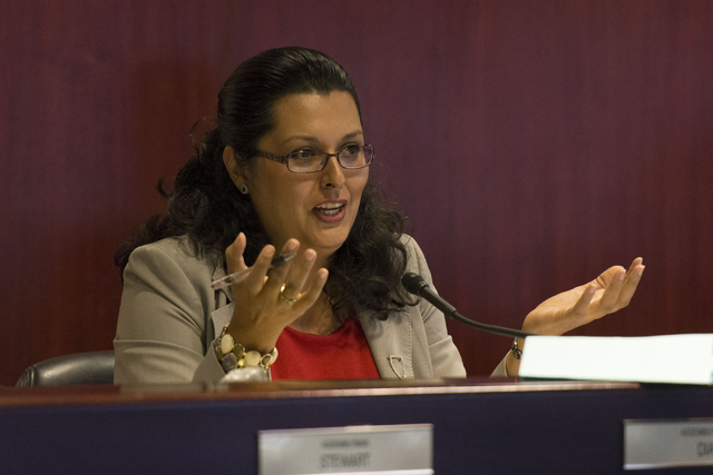 Assemblywoman Olivia Diaz speaks during a legislative committee meeting to discuss reorganization plans for the Clark County School District at the Sawyer Building in Las Vegas Friday, July 1, 201 ...