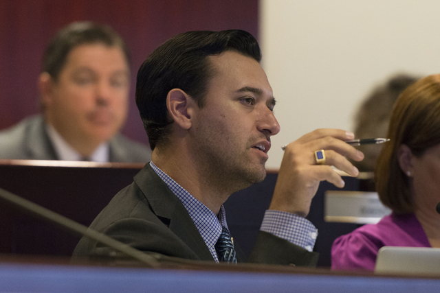 Assemblyman Stephen Silberkraus speaks during a legislative committee meeting to discuss reorganization plans for the Clark County School District at the Sawyer Building in Las Vegas Friday, July  ...