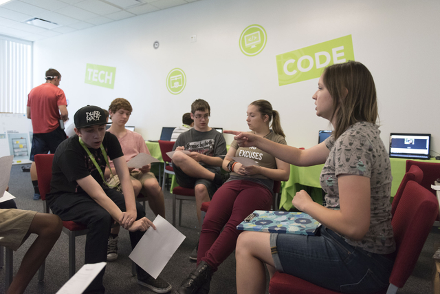 Instructor Hannah Nicholas, right, speaks with Java students during the iD Tech camp at UNLV in Las Vegas Wednesday, June 29, 2016. The weeklong summer camp in technology is for ages 7-17 years. ( ...