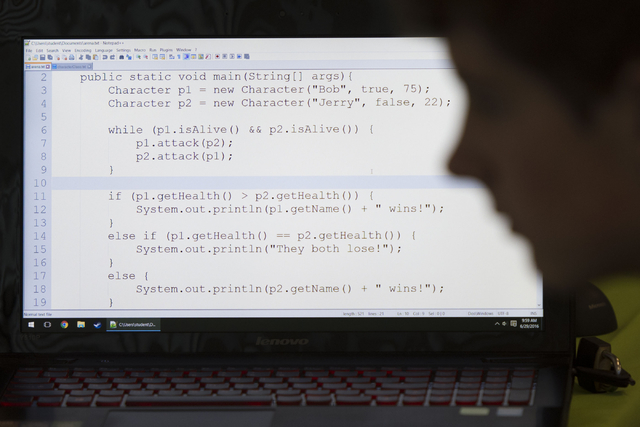 A C++ programming language student works in the lab during the iD Tech camp at UNLV's Tonopah Complex in Las Vegas Wednesday, June 29, 2016. The weeklong summer camp in technology is for ages 7-17 ...