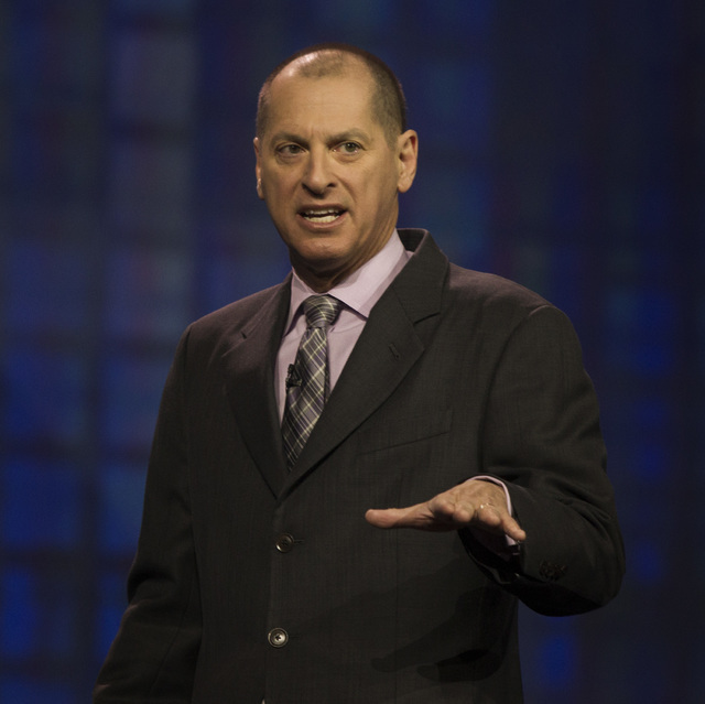 Gary Shapiro, president and CEO of Consumer Electronics Association, gives a state of the industry address Tuesday, Jan. 6, 2015, at the Palazzo Ballroom at the Venetian. About 160,000 people are  ...