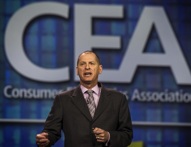 Gary Shapiro, president and CEO of the Consumer Electronics Association, gives a state of the industry address, Tuesday, Jan. 6, 2015, at the Palazzo Ballroom at the Venetian. (Jeff Scheid/Las Veg ...