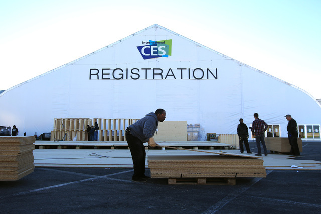 A stage is constructed for an exterior exhibit during set up for the 2015 International Consumer Electronics Show Friday, Jan. 2, 2015. (Sam Morris/Las Vegas Review-Journal)