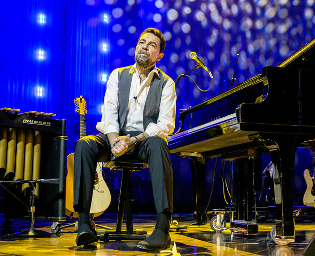 Entertainer Clint Holmes sits on stage during rehearsal at the Palazzo Theater at Palazzo on Monday, July 11, 2016.  (Jeff Scheid/Las Vegas Review-Journal) Follow @jeffscheid