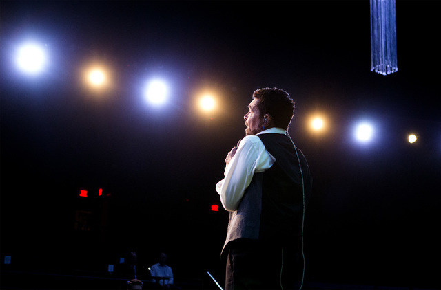 Entertainer Clint Holmes performs while rehearsing at the Palazzo Theater at Palazzo on Monday, July 11, 2016. (Jeff Scheid/Las Vegas Review-Journal) Follow @jeffscheid
