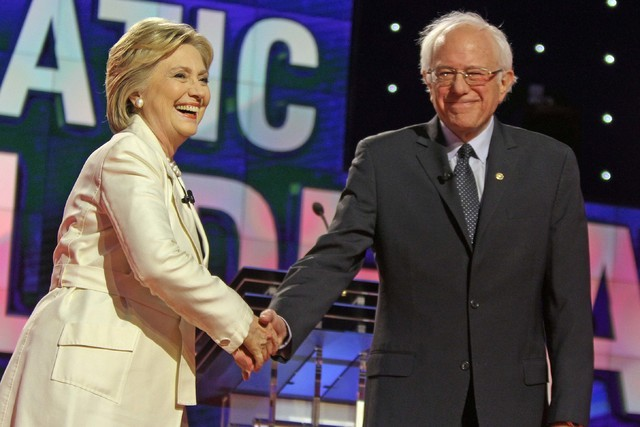 Democratic presidential hopefuls Hillary Clinton and Bernie Sanders during the Democratic presidential candidate debate at Brooklyn Navy Yard in New York, April 14, 2016. (Carucha L. Meuse/The Jou ...