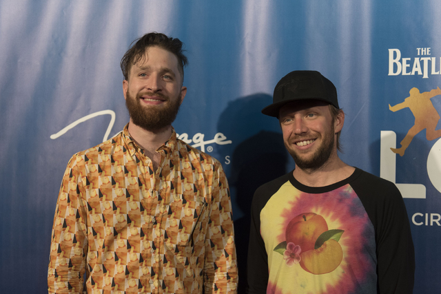 Musicians, Daniel Platzman, left, and Ben McKee, of Imagine Dragons pose during a red carpet event to celebrate the 10th anniversary of Cirque du Soleil's The Beatles LOVE at The Mirage hotel-casi ...