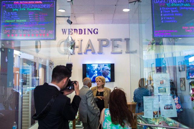 Mayor of Las Vegas Carolyn Goodman receives a tour of the Little Neon Wedding Chapel during the Chapel's grand opening in the Neonpolis in Las Vegas Tuesday morning, July 5, 2016. Elizabeth Brumle ...