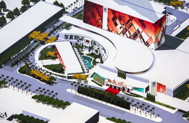 A rendering  of the exterior of the proposed new Moulin Rouge Las Vegas is seen during a ground breaking at the original Moulin Rouge site at 900 W. Bonanza Road on Tuesday, May 24, 2016. The budg ...