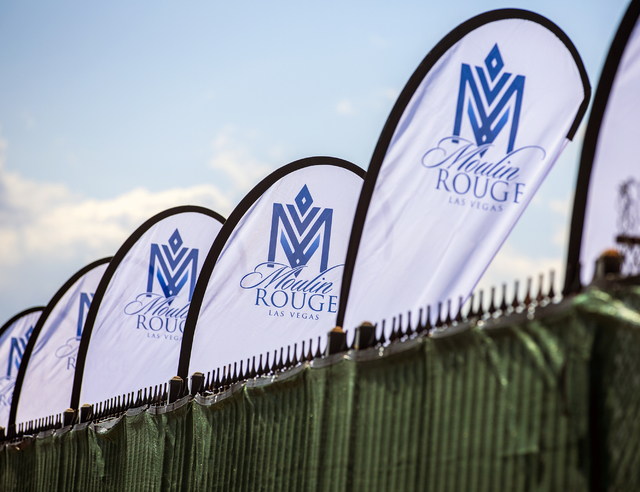 Banner line entrance of the proposed new Moulin Rouge Las Vegas is seen during a ground breaking at the original Moulin Rouge site at 900 W. Bonanza Road on Tuesday, May 24, 2016. (Jeff Scheid/Las ...