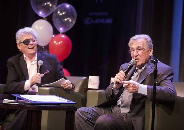 Review-Journal columnist Norm Clarke laughs while comedian Shecky Greene tells a story during Conversations with Norm in the Jazz Cabaret at The Smith Center on Sunday, April 3, 2016. Jeff Scheid/ ...