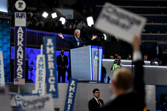Former president Bill Clinton talked about his courtship of Democratic nominee Hillary Clinton in his address at the Democratic National Convention in Philadelphia on Tuesday. Must credit: Washing ...