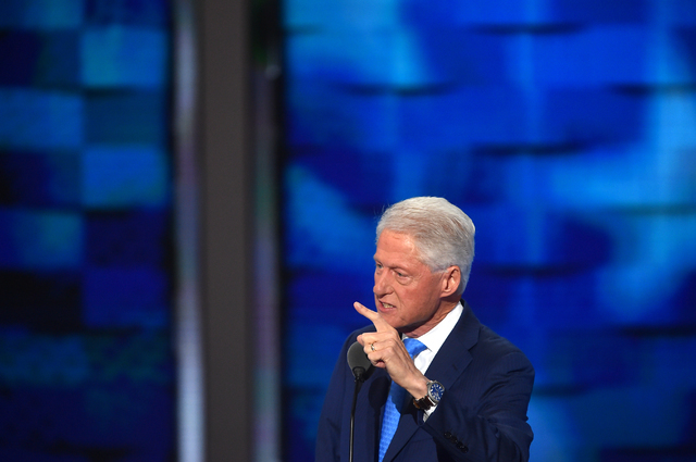 Former President Bill Clinton addresses the Democratic National Convention in Philadelphia on Tuesday. Must credit: Washington Post photo by Ricky Carioti