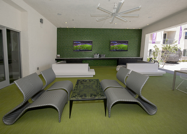 The luxury apartment offers a recreational room. (Elke Cote/RJRealEstate.Vegas)
