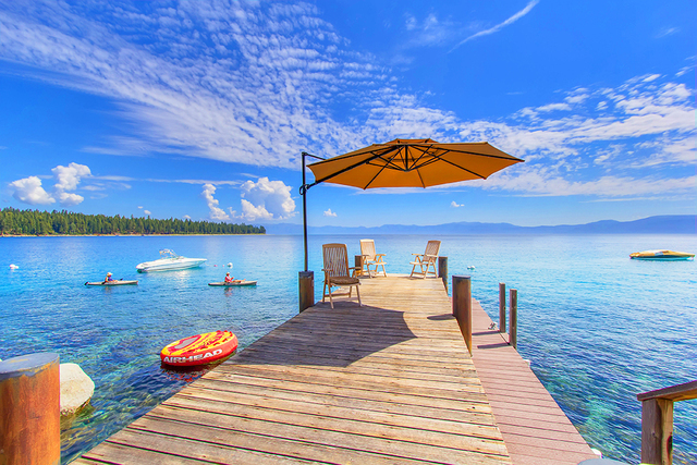 An $8.9 million Lake Tahoe vacation home has its own pier. (Courtesy)