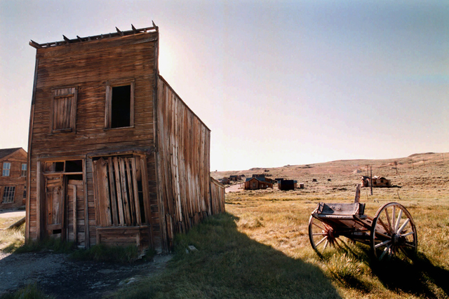 The Swazey Hotel at Bodie State Historic Park, Calif., stands as a warped reminder of a once-thriving wild West town. (K.M. Cannon/Las Vegas Review-Journal)