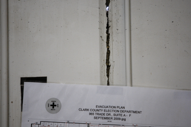 A crack between two cement walls is seen inside the Clark County Election Department warehouse, 965 Trade Drive, in North Las Vegas Monday, April 27, 2015. Erik Verduzco/Las Vegas Review-Journal F ...