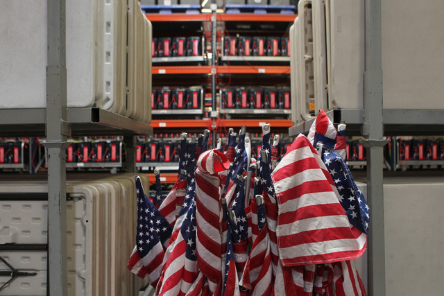 American flags are stored inside the Clark County Election Department warehouse, 965 Trade Drive, in North Las Vegas Monday, April 27, 2015. Erik Verduzco/Las Vegas Review-Journal Follow @Erik_Ver ...