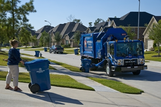 COURTESY REPUBLIC Republic Services is in the process of supplying more than 535,000 single-family homeowners with two new large containers, one for recyclables and one for trash.