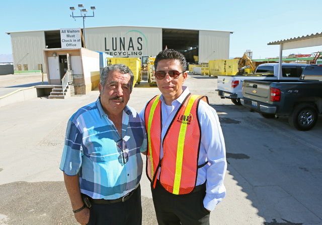 Lunas Recycling co-owners Manuel Madrigal, left, and son Norberto stand for a photograph at Lunas Recycling Monday, July 18, 2016, in Las Vegas. The family-owned waste management facility is locat ...