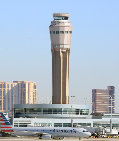 The new air traffic control tower at McCarran airport is seen on Thursday, July 7, 20176. Bizuayehu Tesfaye/Las Vegas Review-Journal Follow @bizutesfaye