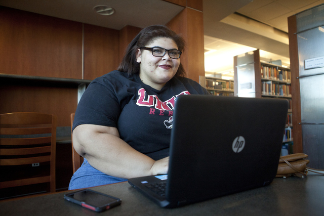Theresa Butler, 17, studies at the Lied Library at the University of Nevada, Las Vegas on Friday, June 8, 2016. (Loren Townsley/Las Vegas Review-Journal) Follow @lorentownsley