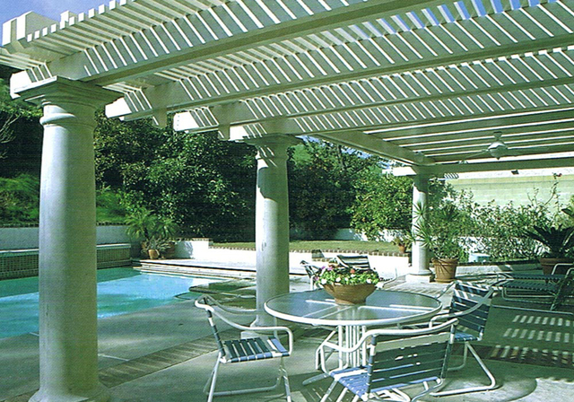 COURTESY DURA-KOOL Lattice patio covers are sometimes referred to as attached pergolas or gazebos.  Lattice patio covers allow  homeowners to choose the amount of shade that works best for their p ...