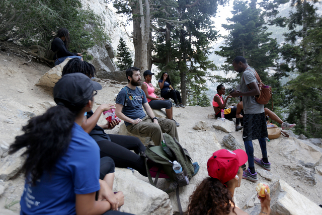 Members of Outdoor Afro rest at Mary Jane Falls on Saturday, June 25, 2016 in Mount Charleston. Rachel Aston/Las Vegas Review-Journal Follow @rookie__rae