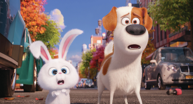 """Pampered terrier mix Max (LOUIS C.K.) and adorable and deranged bunny Snowball (KEVIN HART) in """"The Secret Life of Pets."""" Credit: Illumination Entertainment and Universal Pictures"""