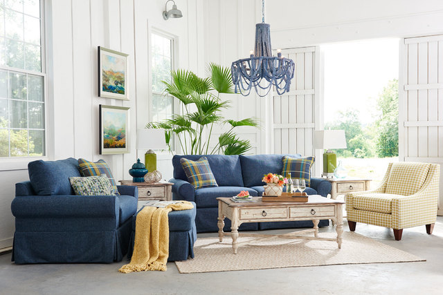 "COURTESY LA-Z-BOY Many designers use the 60-30-10 scale to achieve the ""golden mean"" of color proportion The 60 reflects a major piece of furniture, such as the blue sofa and chair. The 30 is a se ..."