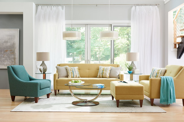 "COURTESY LA-Z-BOY Many designers use the 60-30-10 scale to achieve the ""golden mean"" of color proportion The 60 reflects a major piece of furniture, such as the yellow sofa and chair. The 30 is a  ..."
