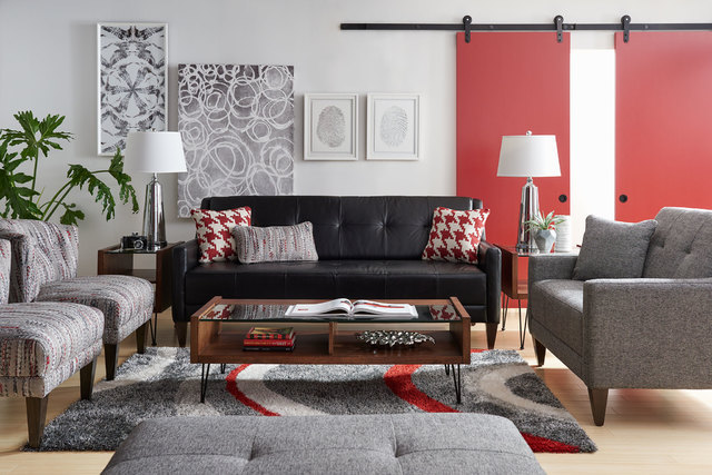 "COURTESY LA-Z-BOY Many designers use the 60-30-10 scale to achieve the ""golden mean"" of color proportion The 60 reflects a major piece of furniture, such as the black sofa. The 30 is a second colo ..."