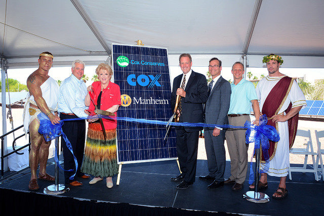 Cox Las Vegas and Manheim Nevada dedicated two ground-mount solar farms June 20, 2016. The two projects generate the power-equivalent of 238 homes and prevent 1,700 tons of carbon from entering th ...