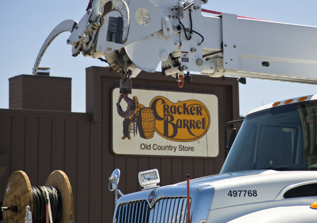 A construction vehicle is parked in front of the new Cracker Barrel location near the Silverton hotel-casino in Las Vegas on Monday, July 18, 2016. The restaurant and store will have its grand ope ...