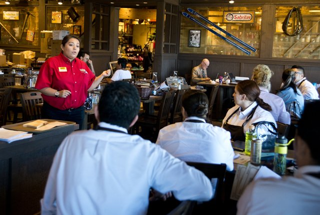 Erica Trujillo, left, trains staff at the new Cracker Barrel location near the Silverton hotel-casino in Las Vegas on Monday, July 18, 2016. The restaurant and store will have its grand opening Mo ...