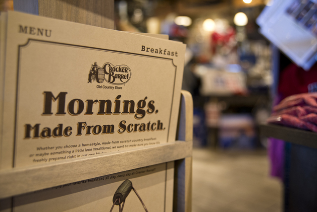 Menus are seen inside the new Cracker Barrel location near the Silverton hotel-casino in Las Vegas on Monday, July 18, 2016. The restaurant and store will have its grand opening Monday, July 25, 2 ...
