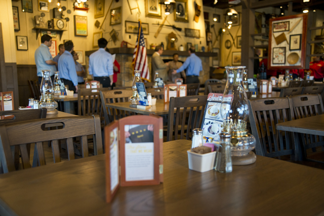 Staff participate in training exercises at the new Cracker Barrel location near the Silverton hotel-casino in Las Vegas on Monday, July 18, 2016. The restaurant and store will have its grand openi ...