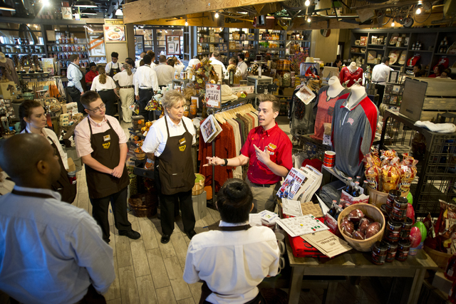 Staff members participate in training exercises at the new Cracker Barrel location near the Silverton hotel-casino in Las Vegas on Monday, July 18, 2016. The restaurant and store will have its gra ...