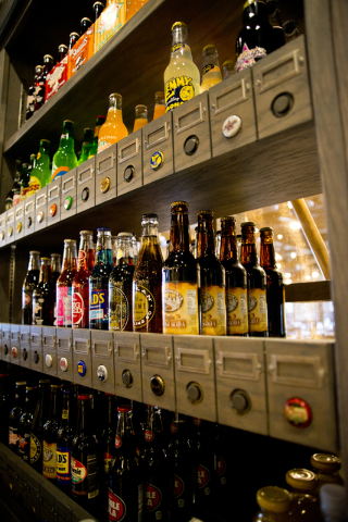 A wall of specialty sodas is fully stocked at the new Cracker Barrel location near the Silverton hotel-casino in Las Vegas on Monday, July 18, 2016. The restaurant and store will have its grand op ...