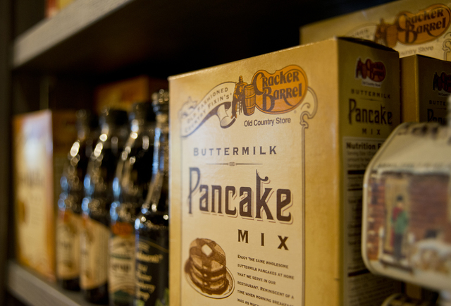 Pancake mix is among the hundreds of products for sale at the new Cracker Barrel location near the Silverton hotel-casino in Las Vegas on Monday, July 18, 2016. The restaurant and store will have  ...