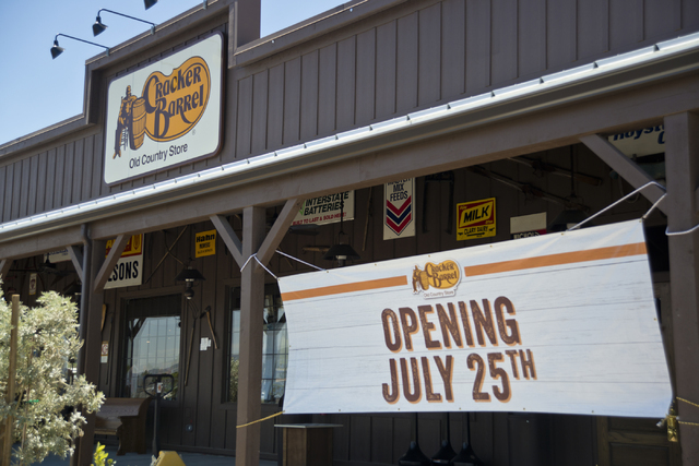 Signs advertise the grand opening of the Cracker Barrel location near the Silverton hotel-casino in Las Vegas on Monday, July 18, 2016. The restaurant and store will have its grand opening Monday, ...