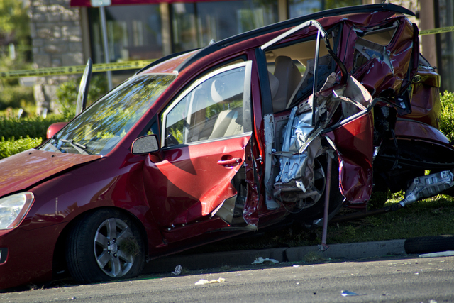 One of vehicles involved in a suspected DUI crash on eastbound Charleston Avenue near Rampart Boulevard remains on the road in Las Vegas on Friday, July 22, 2016. (Daniel Clark/Las Vegas Review-Jo ...