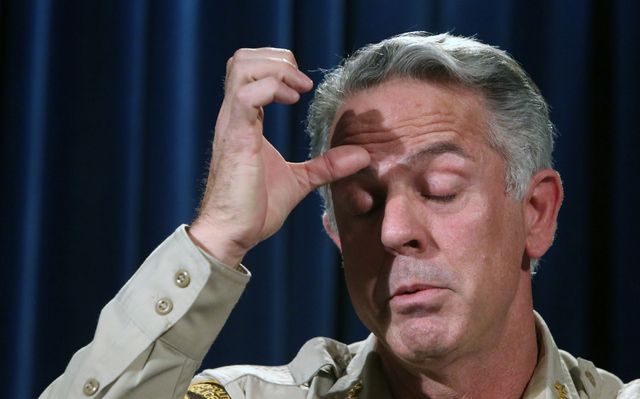 Metro Sheriff Joe Lombardo pauses as he briefs the media on violent crime spike at a news conference on Wednesday, April 27, 2016, at Las Vegas police headquarters. Bizuayehu Tesfaye/Las Vegas Rev ...