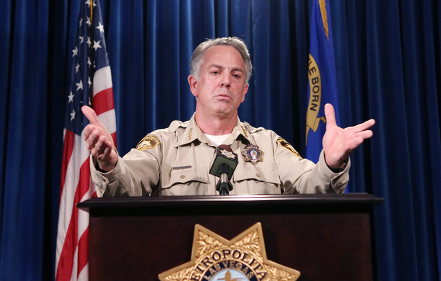 Clark County Sheriff Joe Lombardo briefs the media on a violent crime spike at a news conference April 27. View file photo